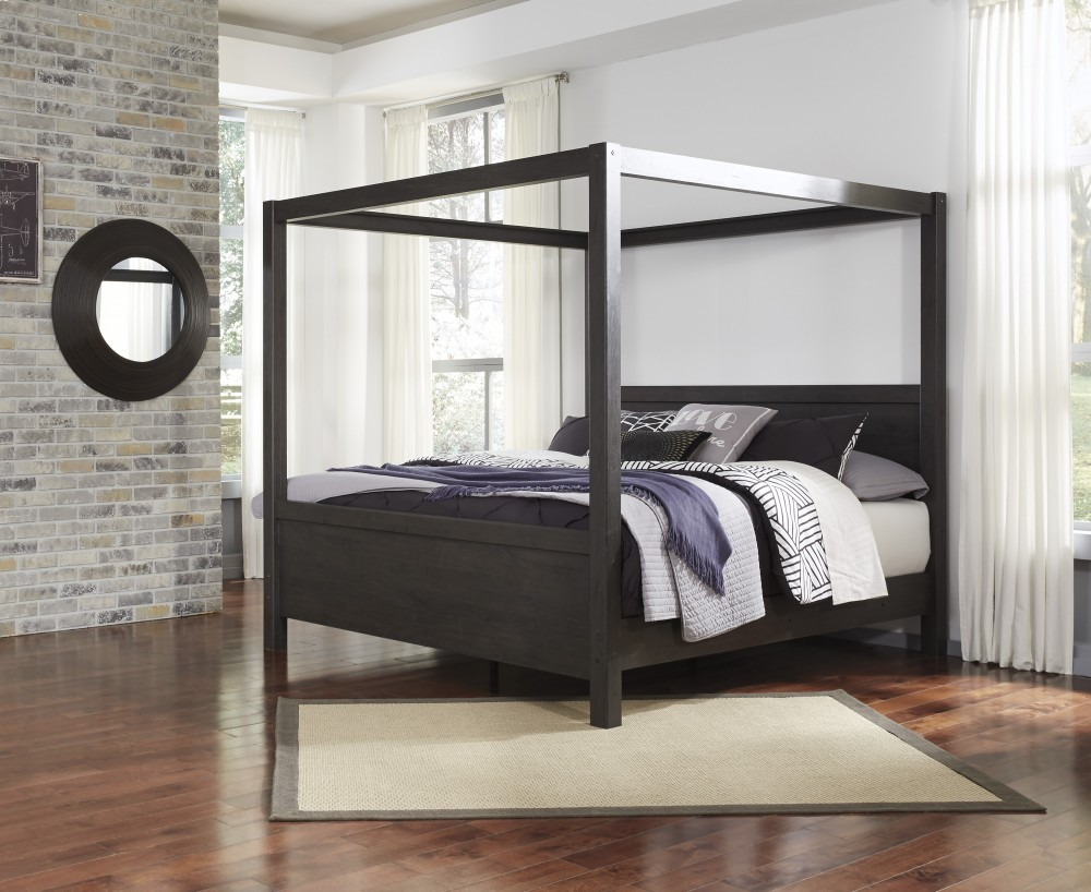 Daltori - Black - King Canopy Bed & Daltori - Black - King Canopy Bed | B273/72/62/99 | Complete Beds ...