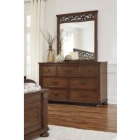 Lazzene - Medium Brown - Dresser & Mirror