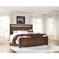 Lazzene - Medium Brown - King Panel Bed