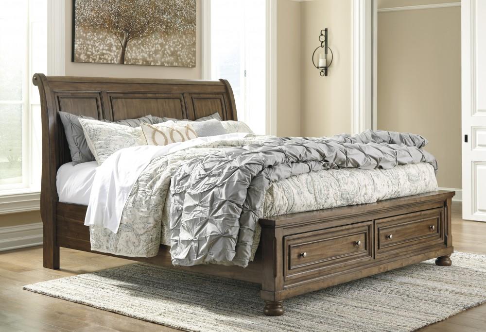 Flynnter - Medium Brown - Queen Sleigh Bed with Storage | B719/77/74 ...