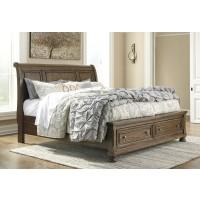 Flynnter - Medium Brown - Queen Sleigh Bed with Storage