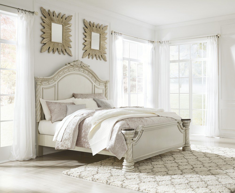 Cassimore - Pearl Silver - King Panel Bed