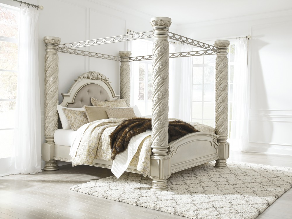 white canopy bed cassimore pearl silver king canopy bed b750 72 50 51 31453