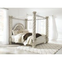 Cassimore - Pearl Silver - King Canopy Bed