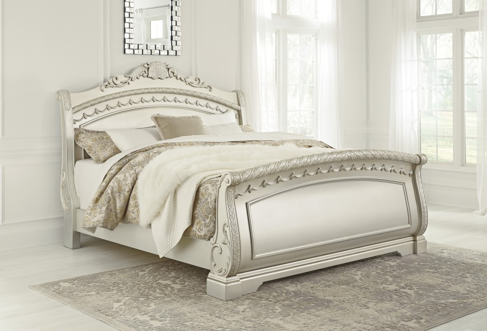Cassimore - Pearl Silver - Queen Sleigh Bed