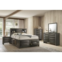 Emily Grey Queen Storage Bed