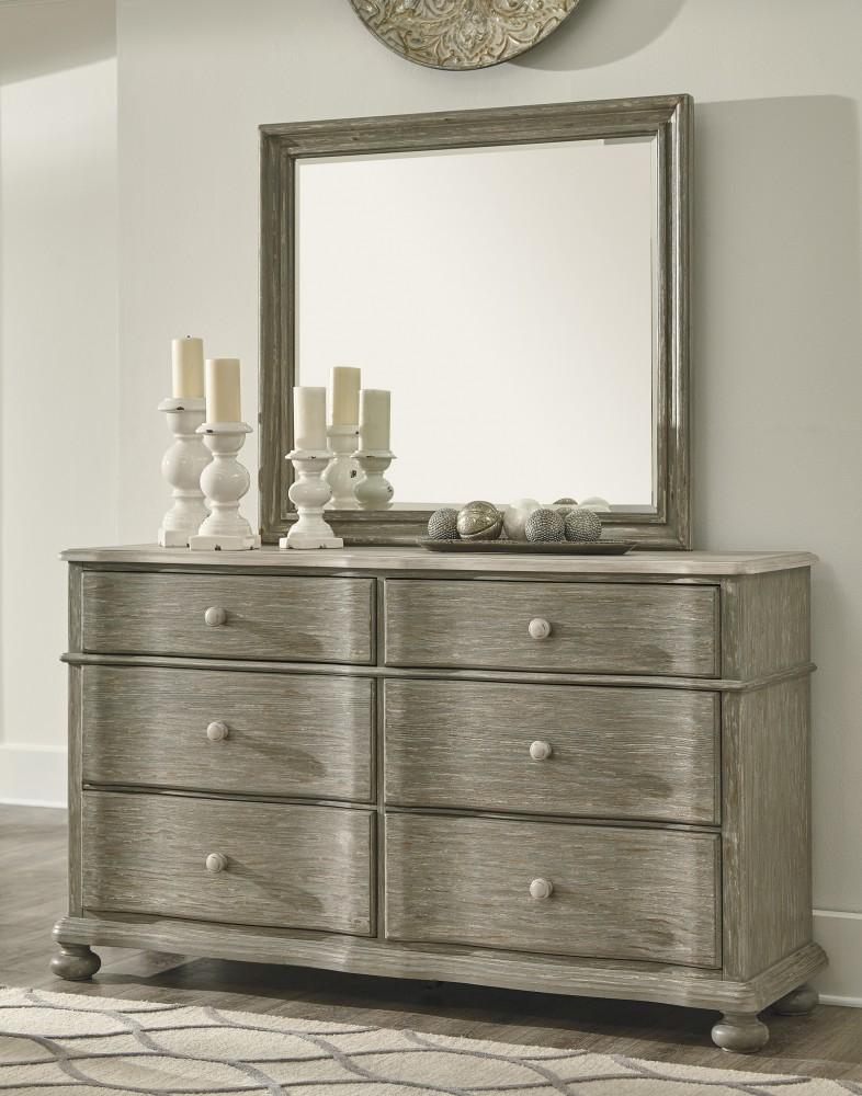 Marleny gray whitewash dresser mirror dresser for Pruitts bedroom sets