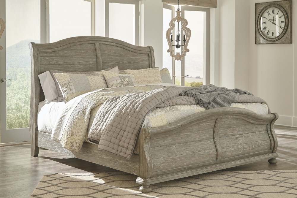 Marleny - Gray/Whitewash - King Sleigh Bed | B644/78/76/99 ...