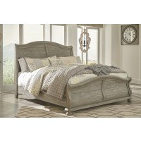 Marleny - Gray/Whitewash - King Sleigh Bed