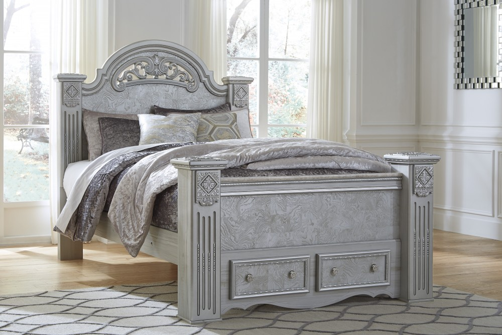 Zolena - Silver - Queen Poster Bed with Storage