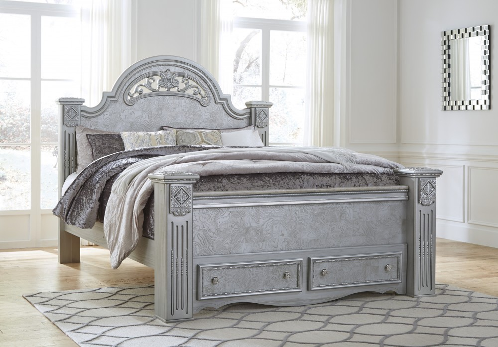 Zolena - Silver - King Poster Bed with Storage