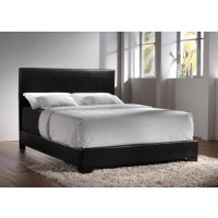 CONNER UPHOLSTERED BED - Conner Casual Black Upholstered Queen Bed