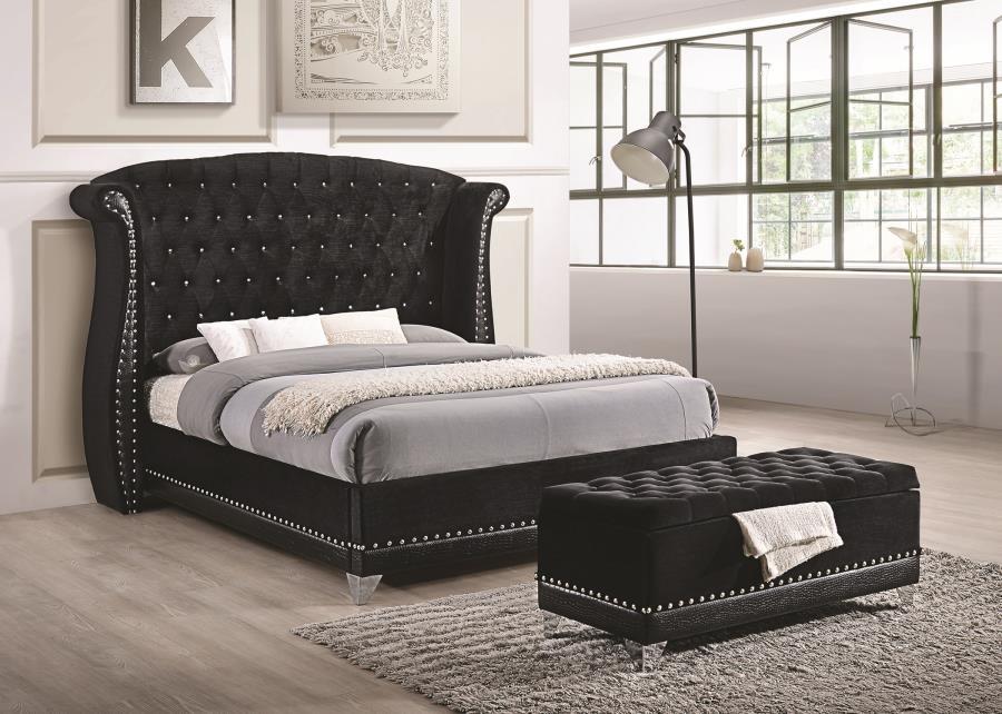 Barzini Black Upholstered Queen Five Piece Bedroom Set
