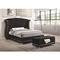 Barzini Black Upholstered King Five-Piece Bedroom Set