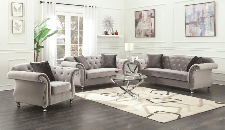 Frostine Grey Two Piece Living Room Set 551161 S2