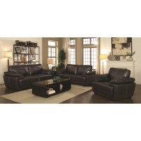 Zenon Brown Leather Three-Piece Living Room Set