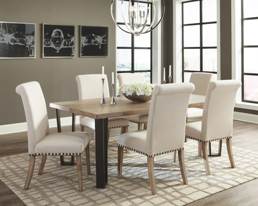Donny Osmond Home Taylor Rustic Ivory And Oak Seven Piece Dining Set