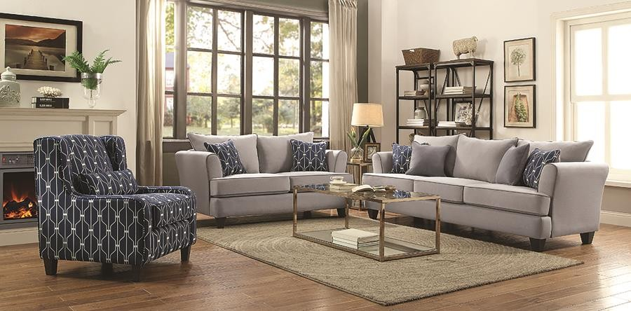 Hallstatt Casual Grey Three-Piece Living Room Set