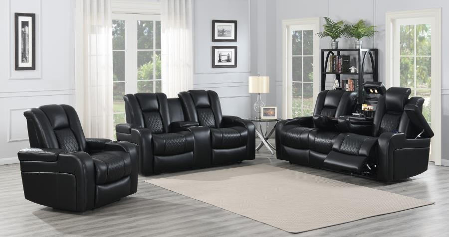 DELANGELO MOTION COLLECTION - Delangelo Black Power Motion Three-Piece  Living Room Set