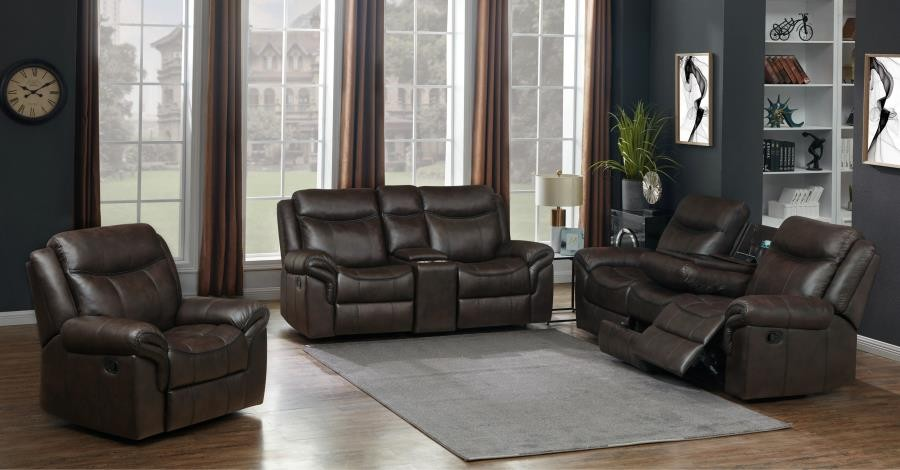 SAWYER MOTION COLLECTION - Sawyer Transitional Brown Three-Piece Living Room Set