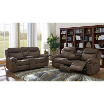 SAWYER MOTION COLLECTION - Sawyer Transitional Light Brown Two-Piece Living Room Set