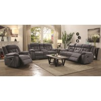 HIGGINS MOTION COLLECTION - Houston Casual Stone Reclining Three-Piece Living Room Set