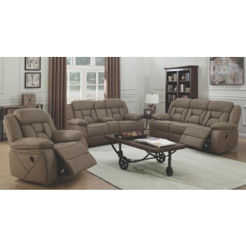 HIGGINS MOTION COLLECTION - Houston Casual Tan Reclining Three-Piece Living Room Set