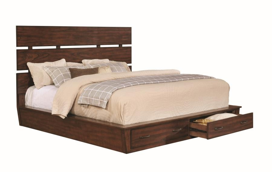 Artesia Industrial Dark Cocoa Queen Four Piece Set 204470q S4 Bedroom Sets Price Busters Furniture