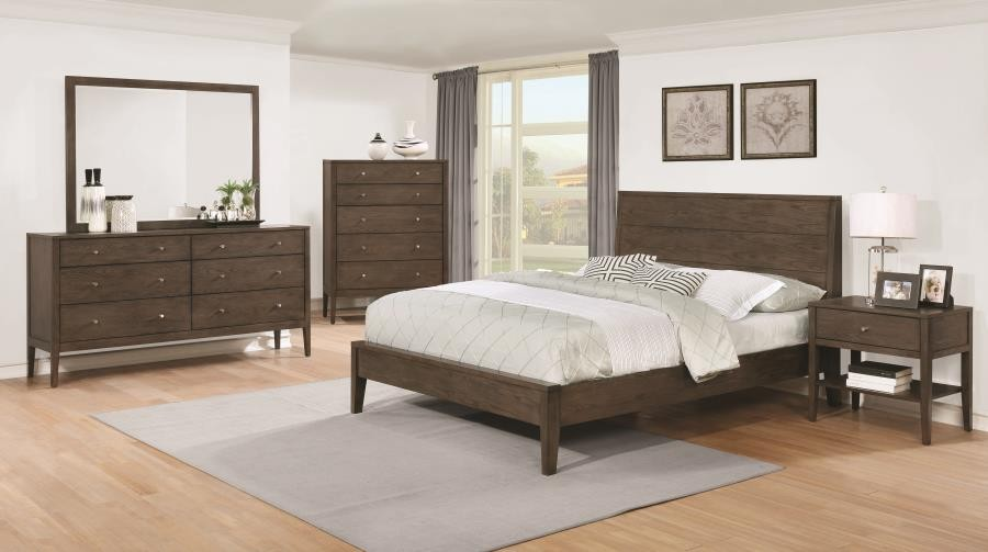 Lompoc Mid Century Modern Brown Walnut California King Five Piece Set 204561kw S5 Bedroom Sets Price Busters Furniture