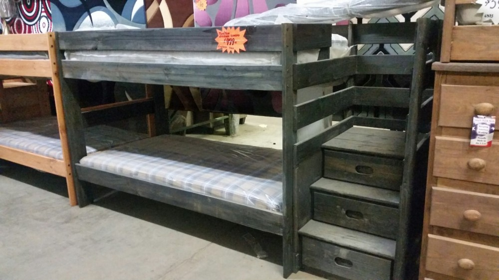 Twin- Twin Staircase Bed (Black)