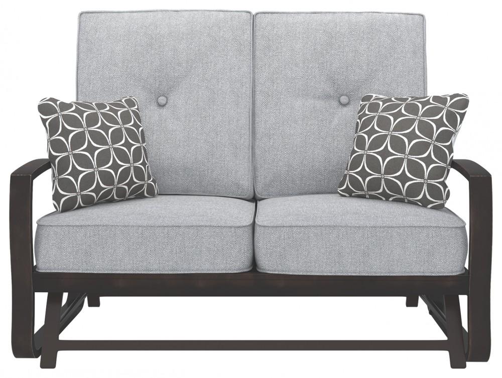 Fabulous Castle Island Dark Brown Loveseat Glider W Cushion Short Links Chair Design For Home Short Linksinfo