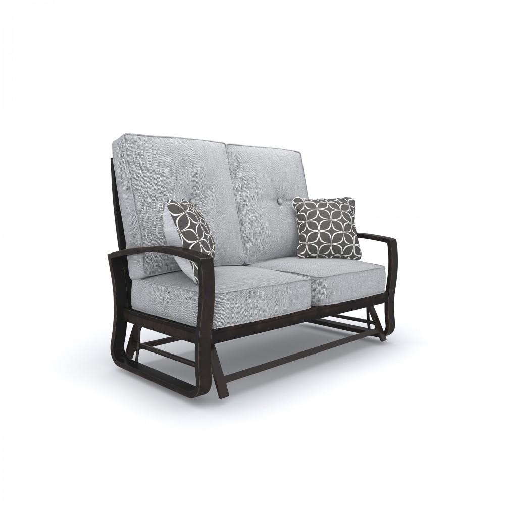 Marvelous Castle Island Dark Brown Loveseat Glider W Cushion Short Links Chair Design For Home Short Linksinfo
