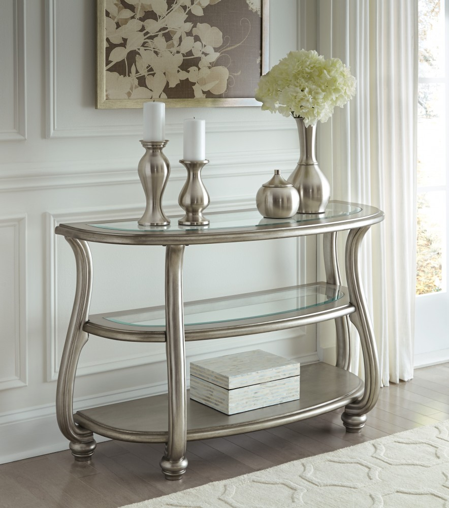 Coralayne - Silver Finish - Sofa Table