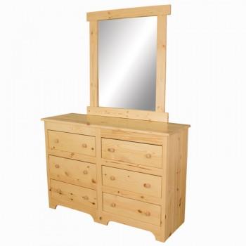 Finished Pine 6 Drawer Dresser w/ Mirror