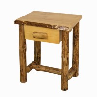 Rustic Red Pine 1 Drawer Nightstand