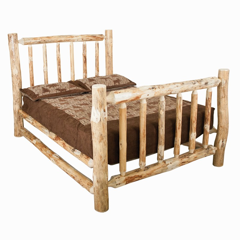 Rustic Red Pine Queen Platform Bed