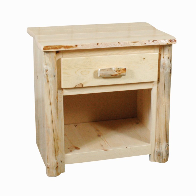 Rustic Red Pine Cabin Size 1 Drawer Nightstand