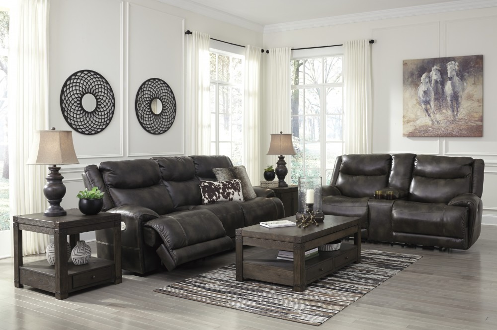 Brinlack - Gray - Power Reclining Sofa & Loveseat