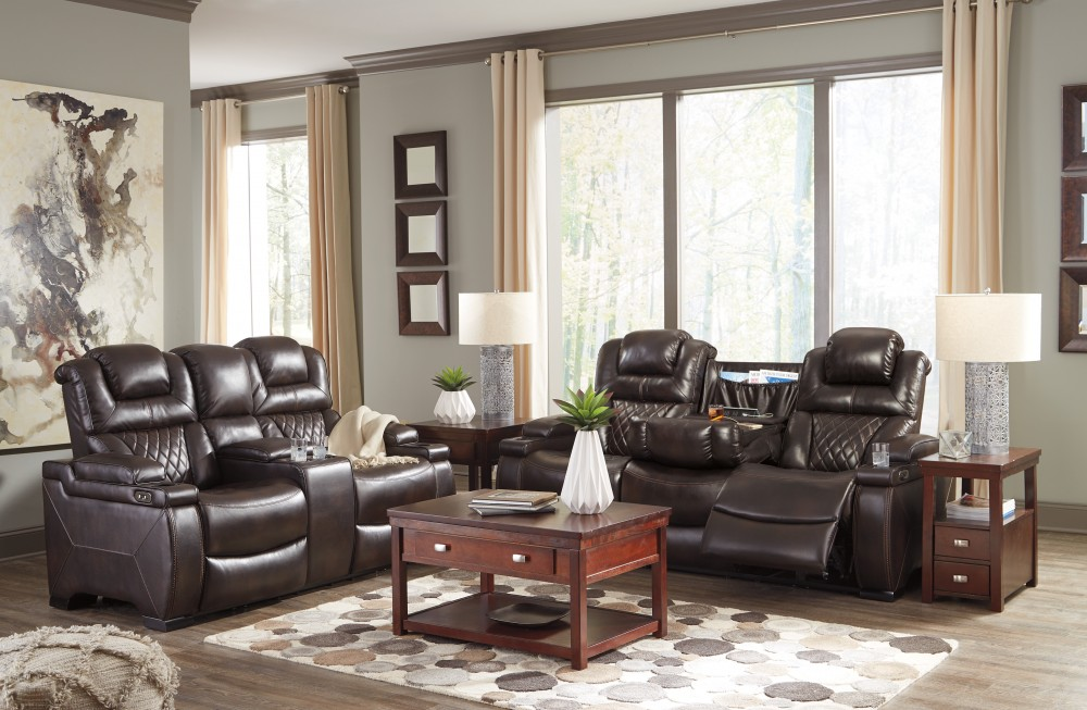Warnerton - Chocolate - Power Reclining Sofa & Loveseat