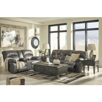 Dunwell - Steel - Power Reclining Sofa & Loveseat