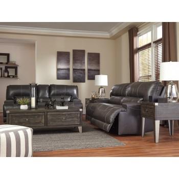 McCaskill - Gray - 2 Seat Reclining Sofa & DBL Rec Loveseat w/Console