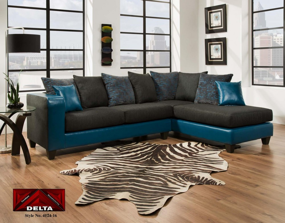 Tampa Teal 2 Pc Sectional