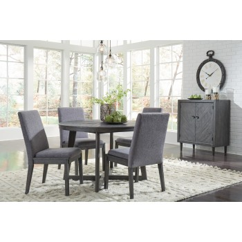 Besteneer - Round Dining Room Table & 4 UPH Side Chairs
