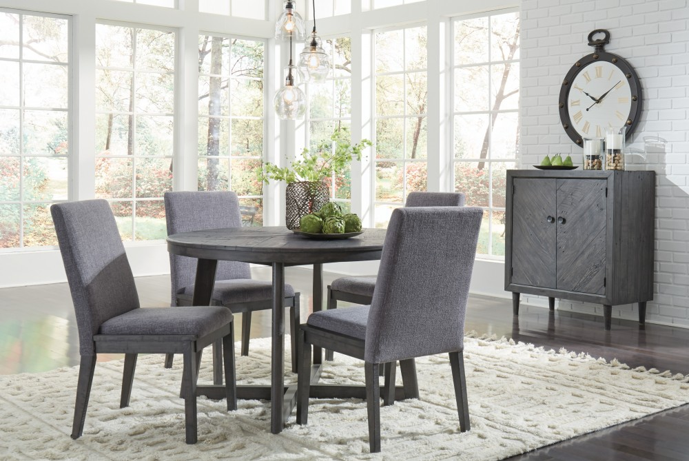 Besteneer   Round Dining Room Table U0026 4 UPH Side Chairs