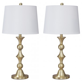 Genevieve - Antique Brass Finish - Metal Table Lamp (2/CN)