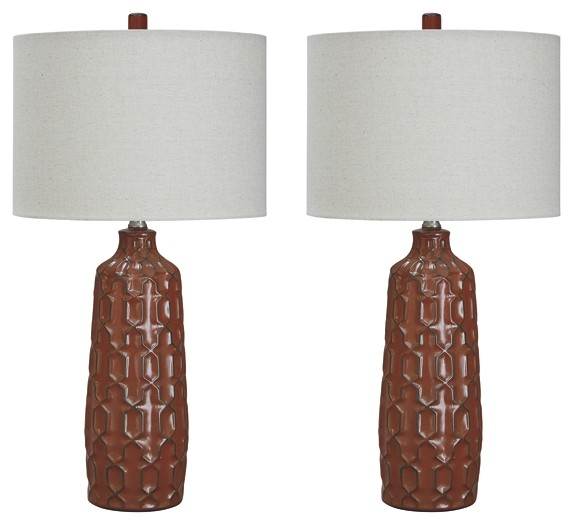 Mab Orange Ceramic Table Lamp 2 Cn L100674 Lamps Macomb