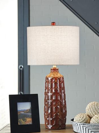 Mab Orange Ceramic Table Lamp 2 Cn L100674 Lamps