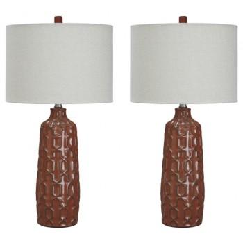 Mab Orange Ceramic Table Lamp 2 Cn L100674 Lamps Clayton