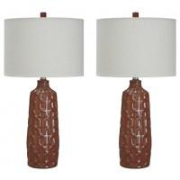 Mab - Orange - Ceramic Table Lamp (2/CN)
