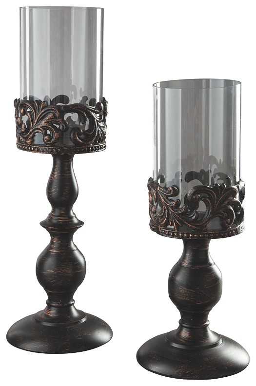 Constance - Antique Black - Candle Holder Set (2/CN)